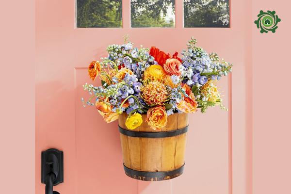 5 phút thủ công trang trí nhà với giỏ hoa treo tường