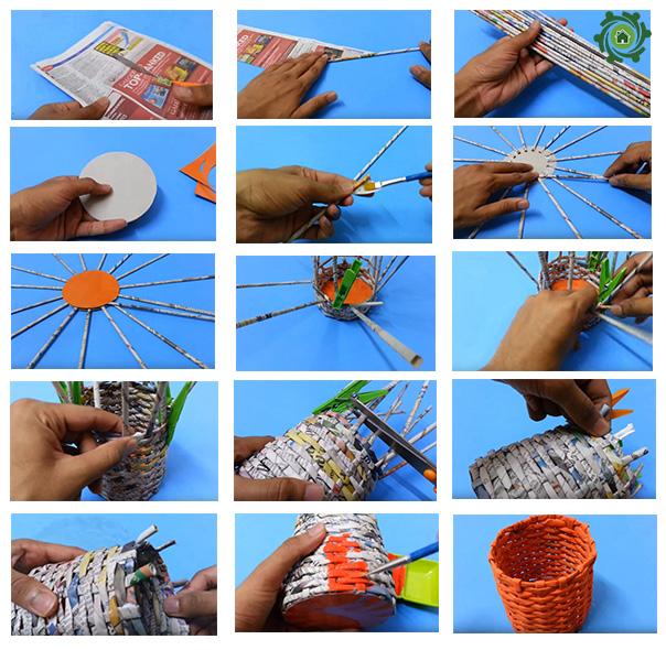 Cách làm đồ trang trí bàn học bằng giấy báo