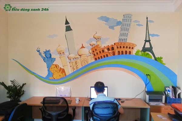 Trang trí phòng làm việc công sở bằng vẽ tường