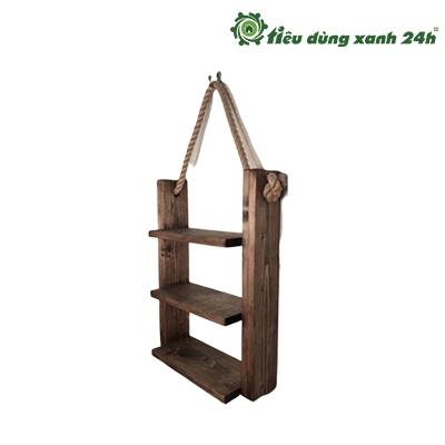 Kệ gỗ treo tường 3 ngăn có dây treo