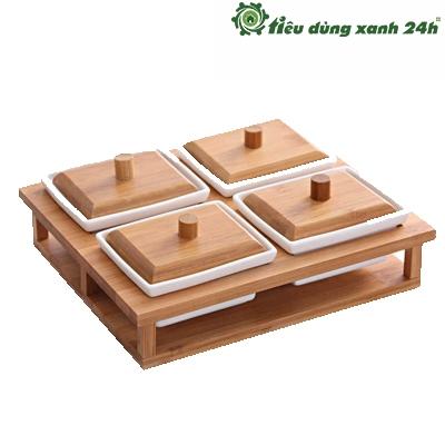 Khay gỗ đựng mứt, kẹo - KH01
