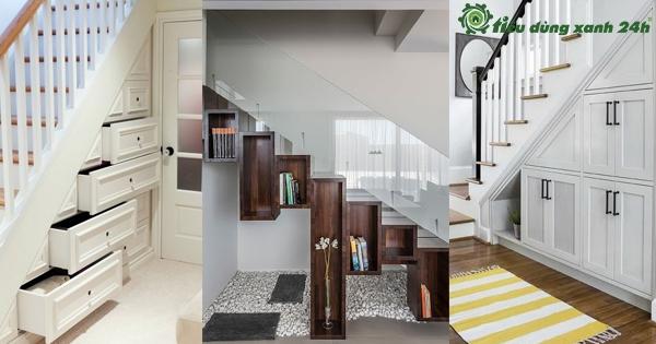 Top 6 mẫu tủ gầm cầu thang phòng khách đẹp nhất 2020