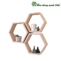 Kệ gỗ treo tường hình tổ ong K-04